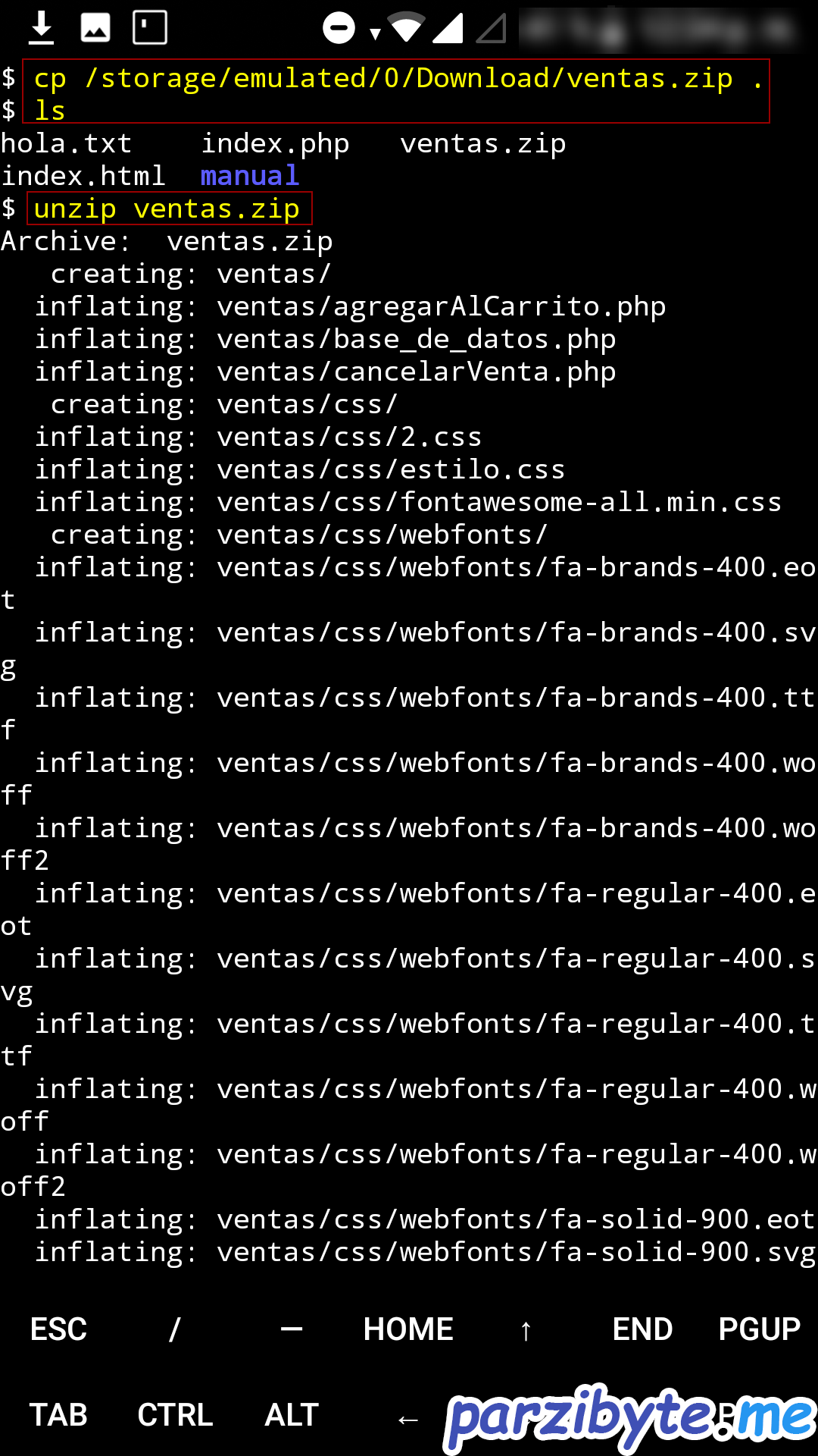 Copiar proyecto de ventas a htdocs para montar aplicación web en android usando Termux