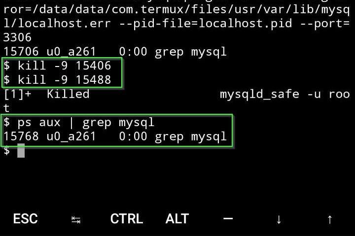 Detener servidor de MySQL