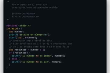 Par o impar en C con operación AND a nivel de bits