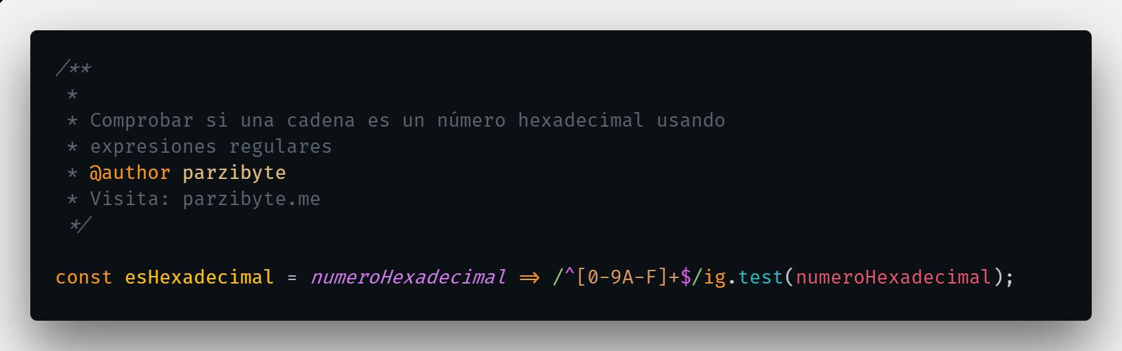Probar si es hexadecimal en JavaScript
