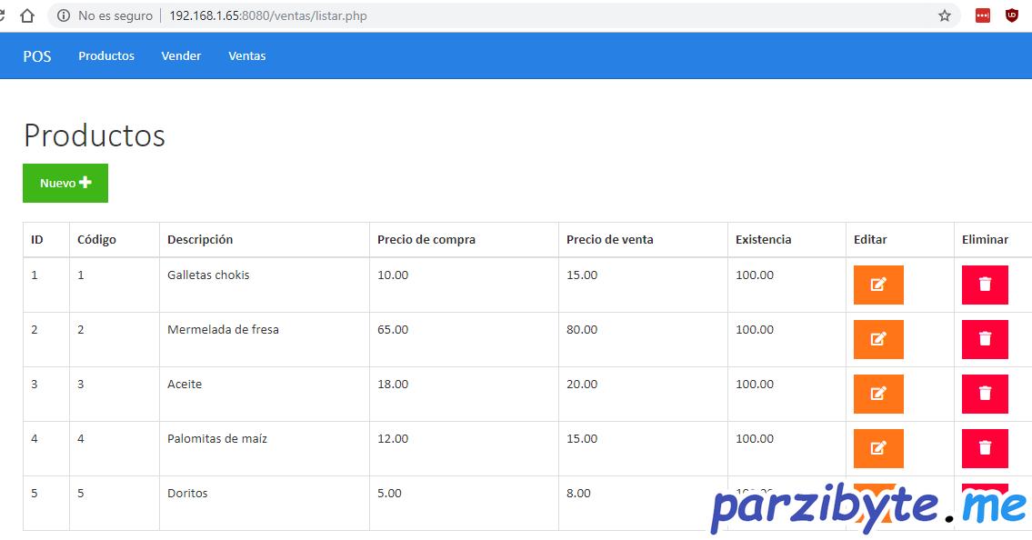 Sistema de ventas montado en aplicación móvil