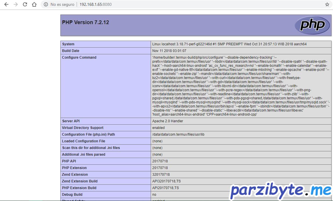 Ver información de versión de PHP instalada en Android