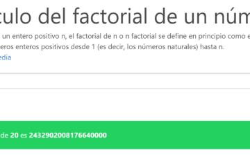 Cálculo del factorial de un número en JavaScript. Aplicación web online