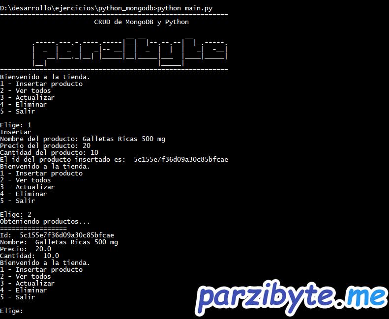 CRUD de MongoDB y Python con PyMongo