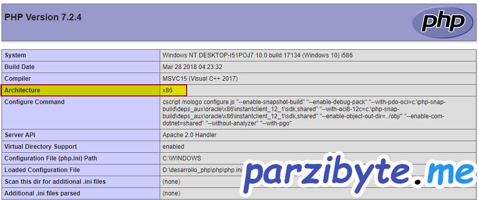 Comprobar arquitectura de PHP