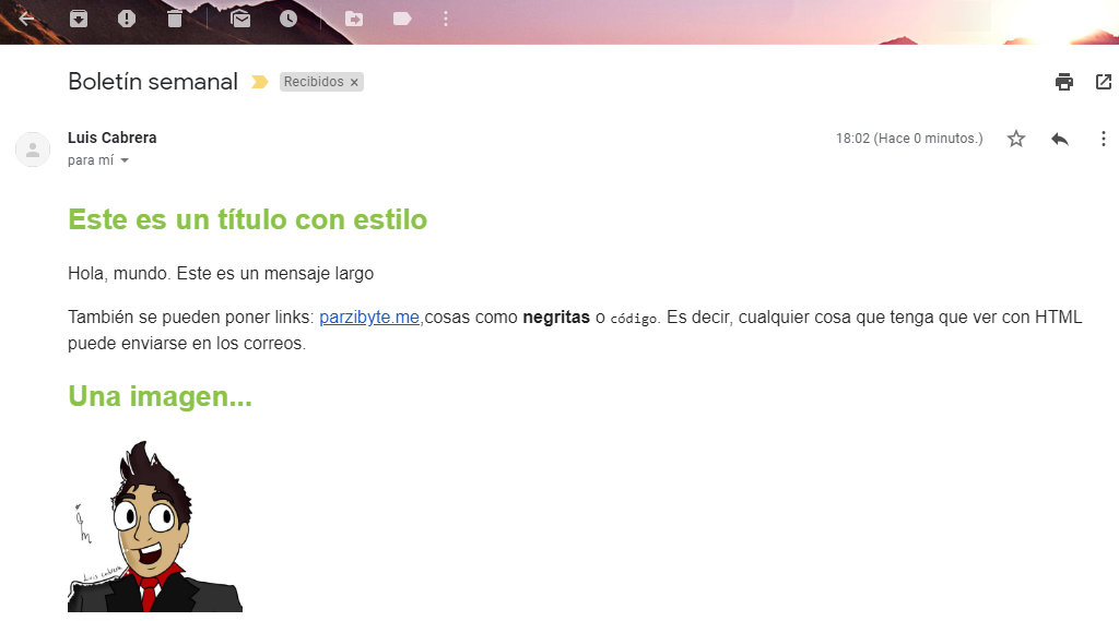 Correo electrónico recibido en Gmail