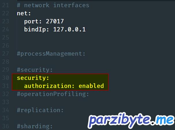 Habilitar autenticación en archivo de configuración de MongoDB