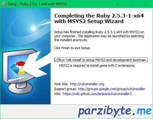 Instalación de Ruby 5 - Ejecutar ridk install