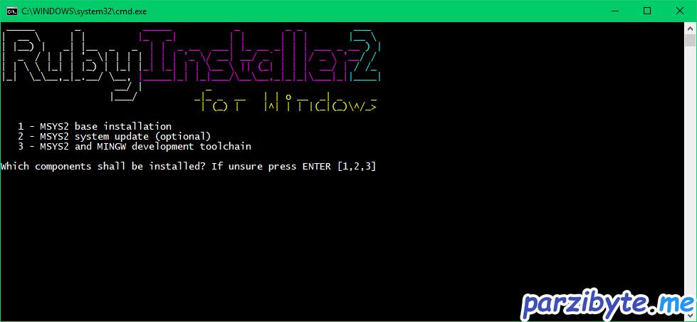 Instalación de Ruby 6 - Instalar MSYS2, seleccionar 3 componentes
