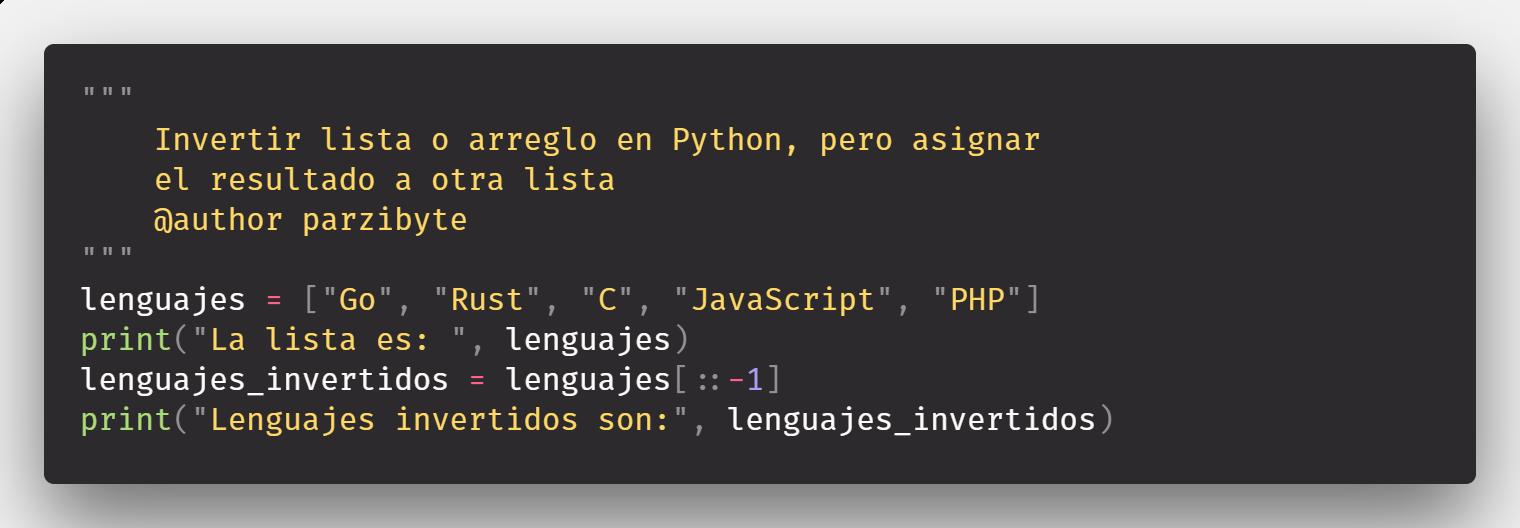 Invertir lista en Python