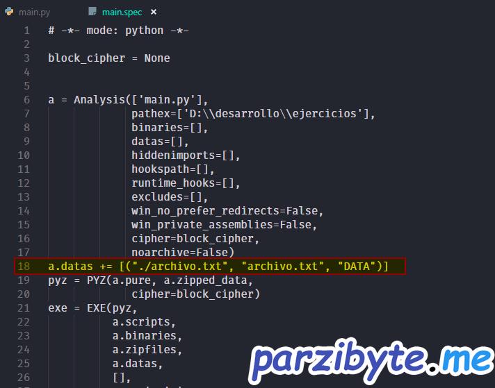 Modificar datas en PyInstaller para agregar assets