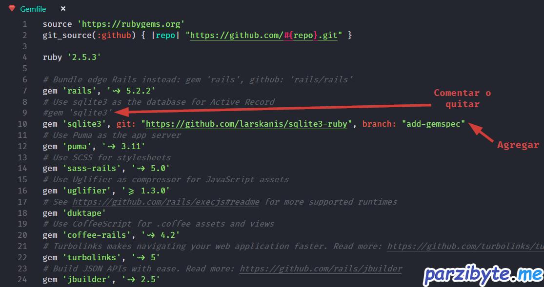Modificar gemfile para instalar gema de SQLite3 de otra manera