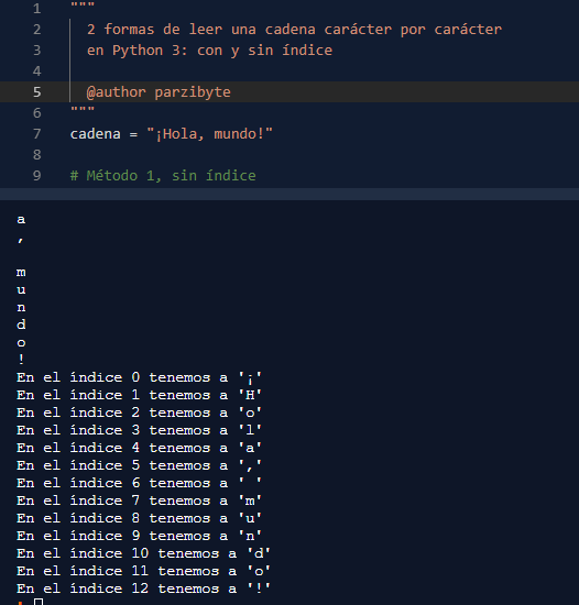 Recorrer cadena usando Python