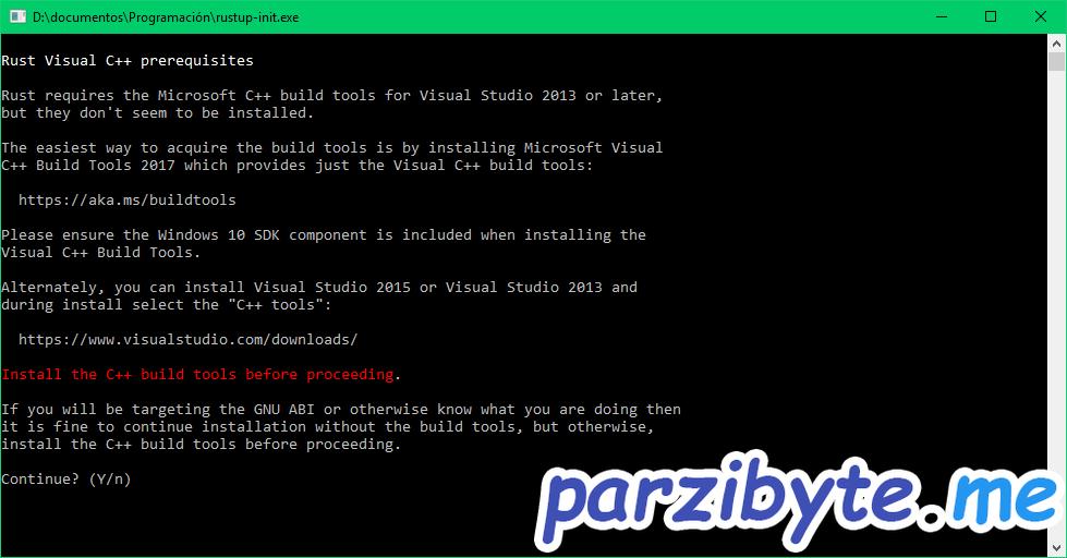 Rust instalación 1 - Instalar Visual CPP si es necesario