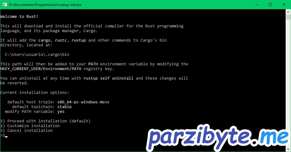 Rust instalación 2 - Personalizar opciones de instalación
