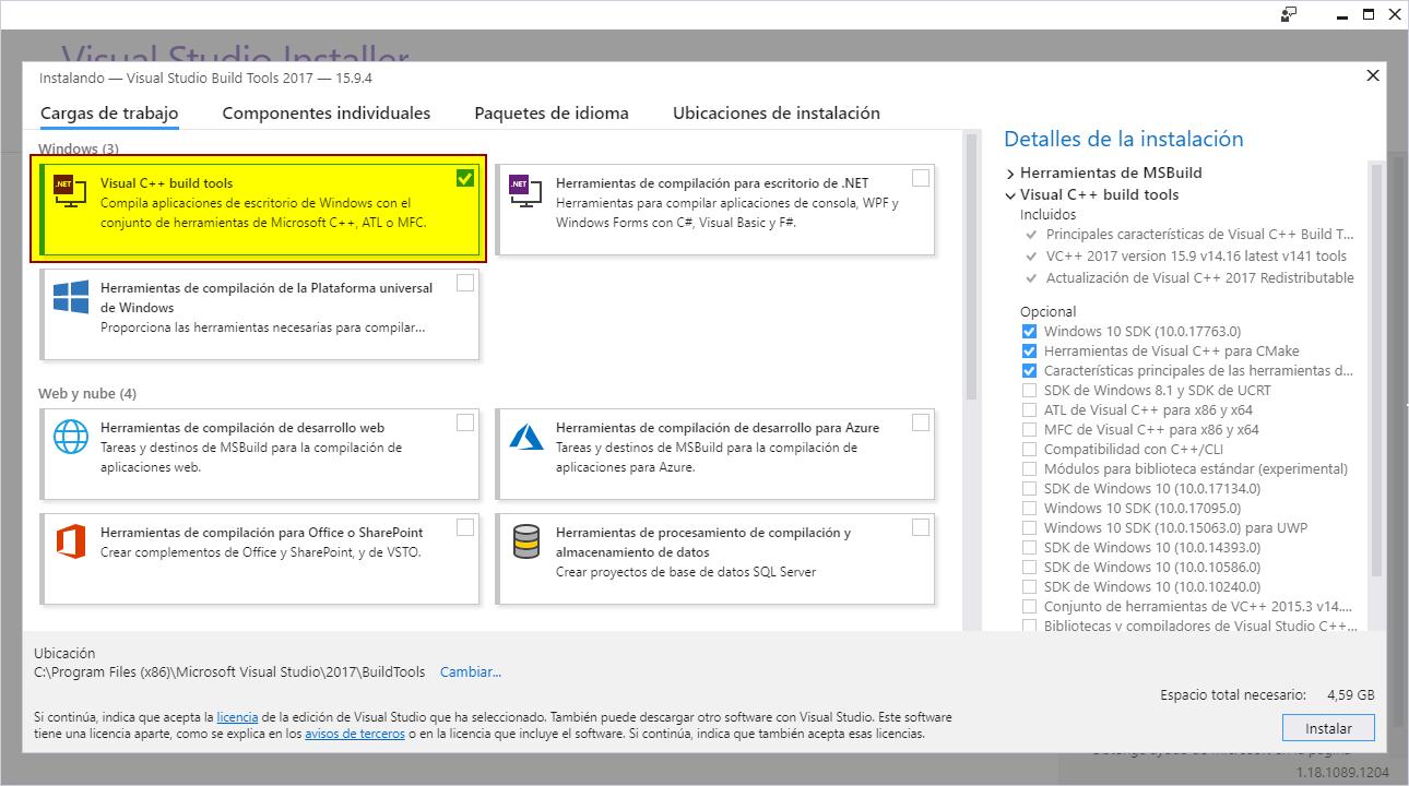 Rust instalación 7 - Elegir componentes de Visual Studio