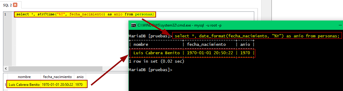 STRFTIME y DATE_FORMAT en SQLite y MySQL