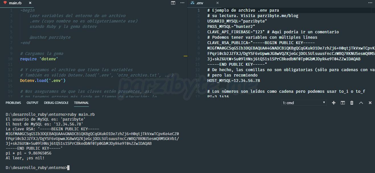 Usar env en Ruby para leer variables del entorno