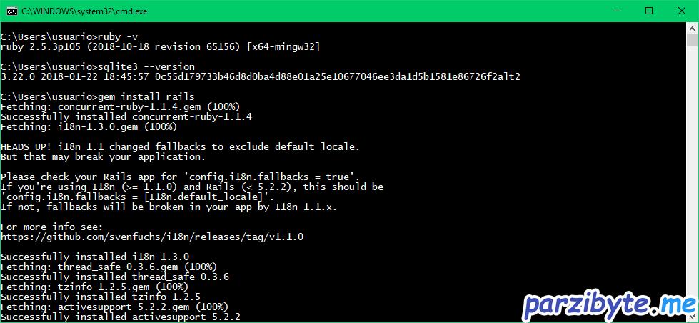 Verificar versión de SQLite3 y ruby para instalar gema de rails