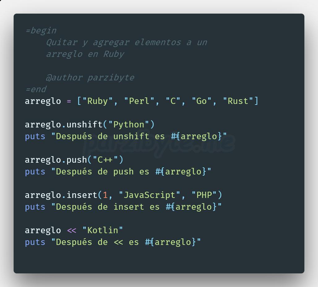 Agregar y eliminar elementos de un arreglo en Ruby