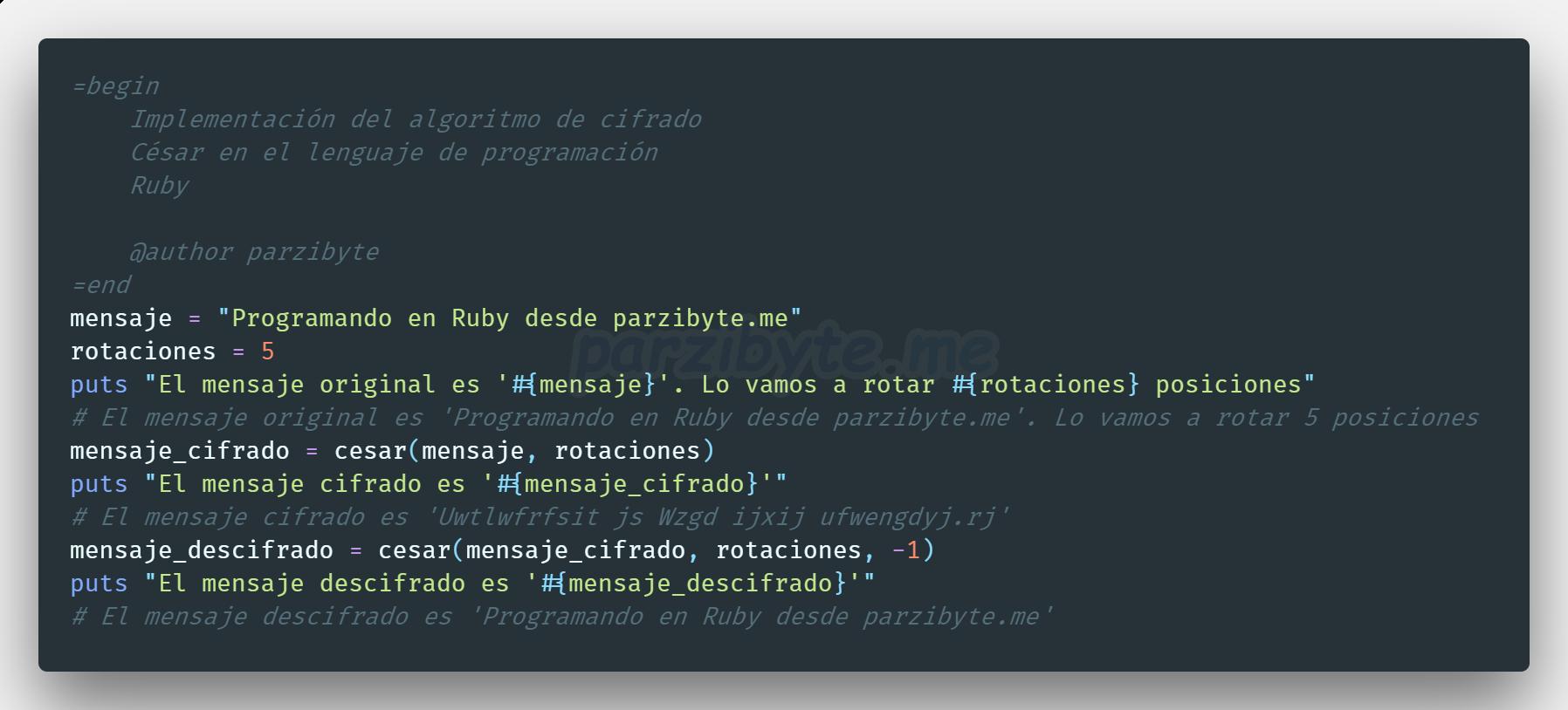 Algoritmo de cifrado César en Ruby
