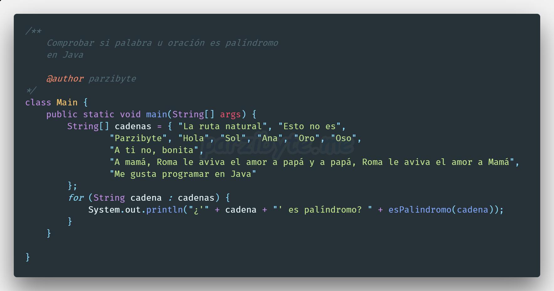 Algoritmo para determinar si es palíndromo en Java