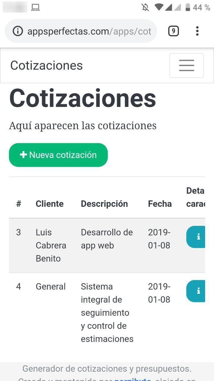 App web para cotizaciones, presupuestos y costos en un teléfono Android