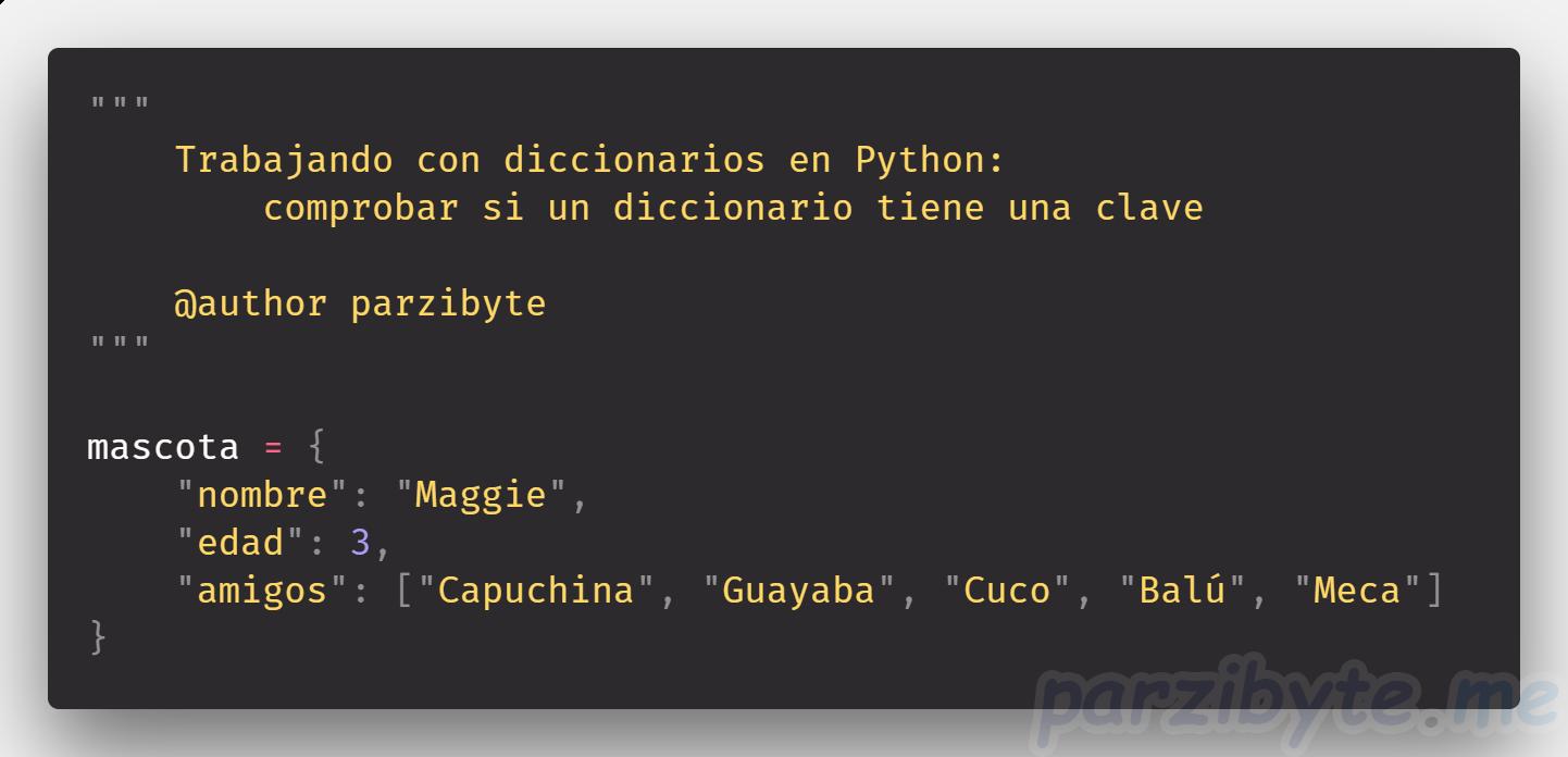 Comprobar si diccionario tiene clave en Python
