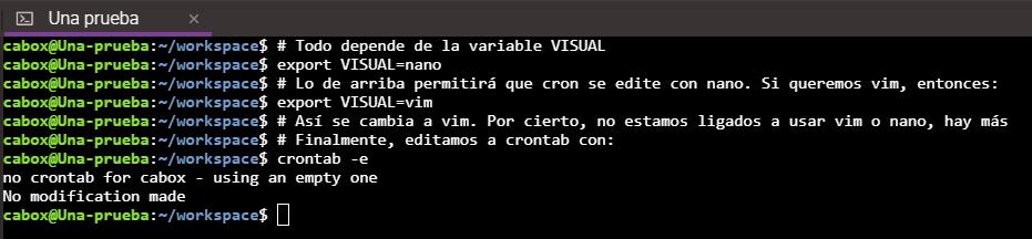 Configurar editor al momento de editar el archivo de cron en Linux