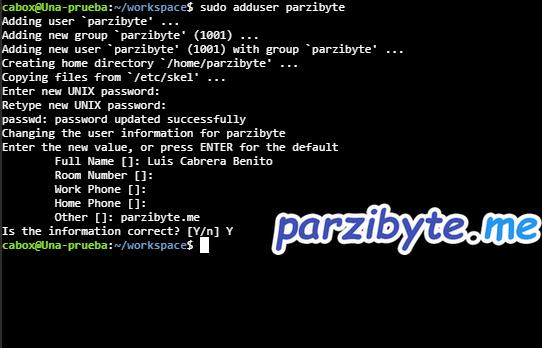 Crear usuario en Ubuntu con adduser