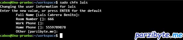 Editar otros datos del usuario de Ubuntu con chfn