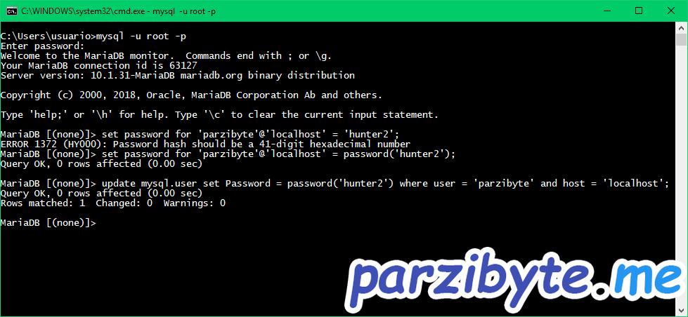 Ejemplo de cambio de contraseña en MySQL