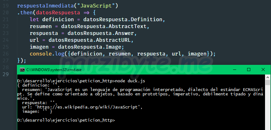 Ejemplo de respuesta de API JSON de DuckDuckGo