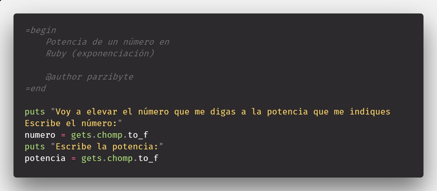 Elevar número en Ruby (exponenciación) sin pow