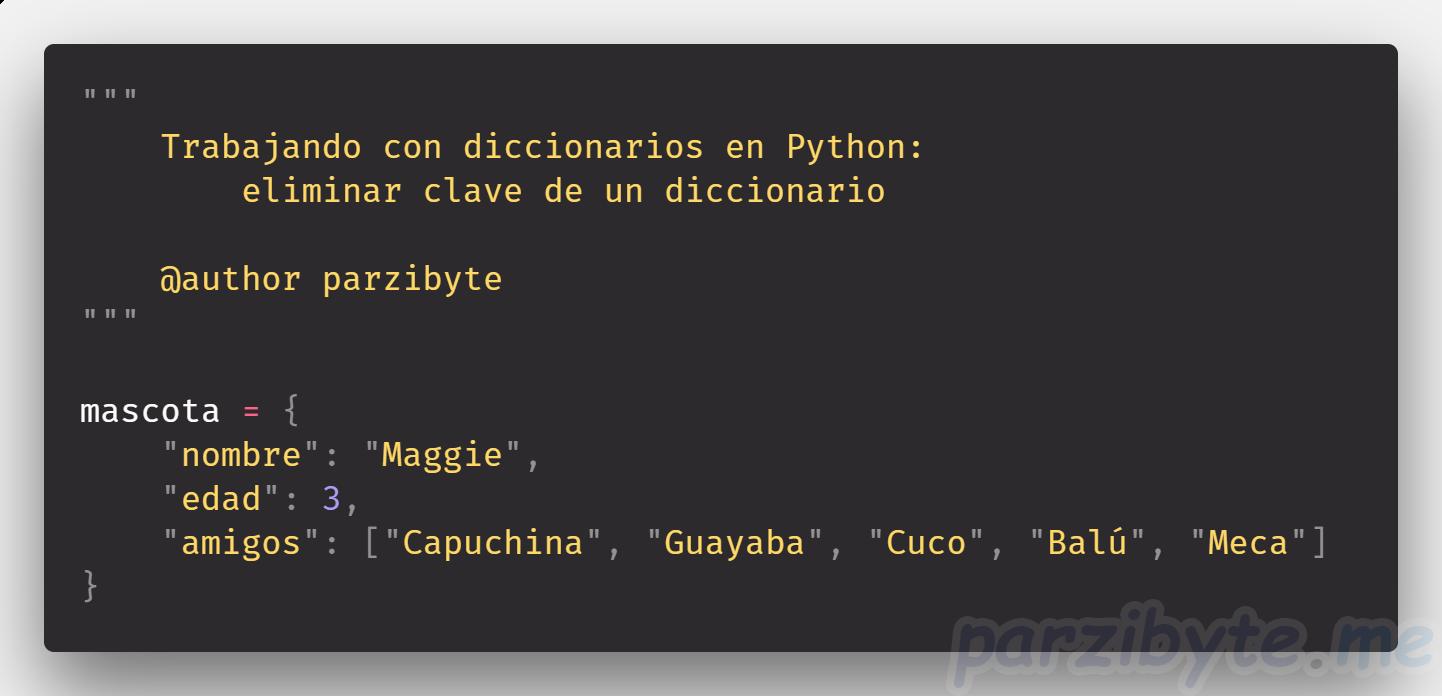 Eliminar clave de un diccionario con Python