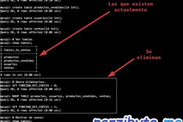 Eliminar y vaciar tablas de una base de datos de MySQL