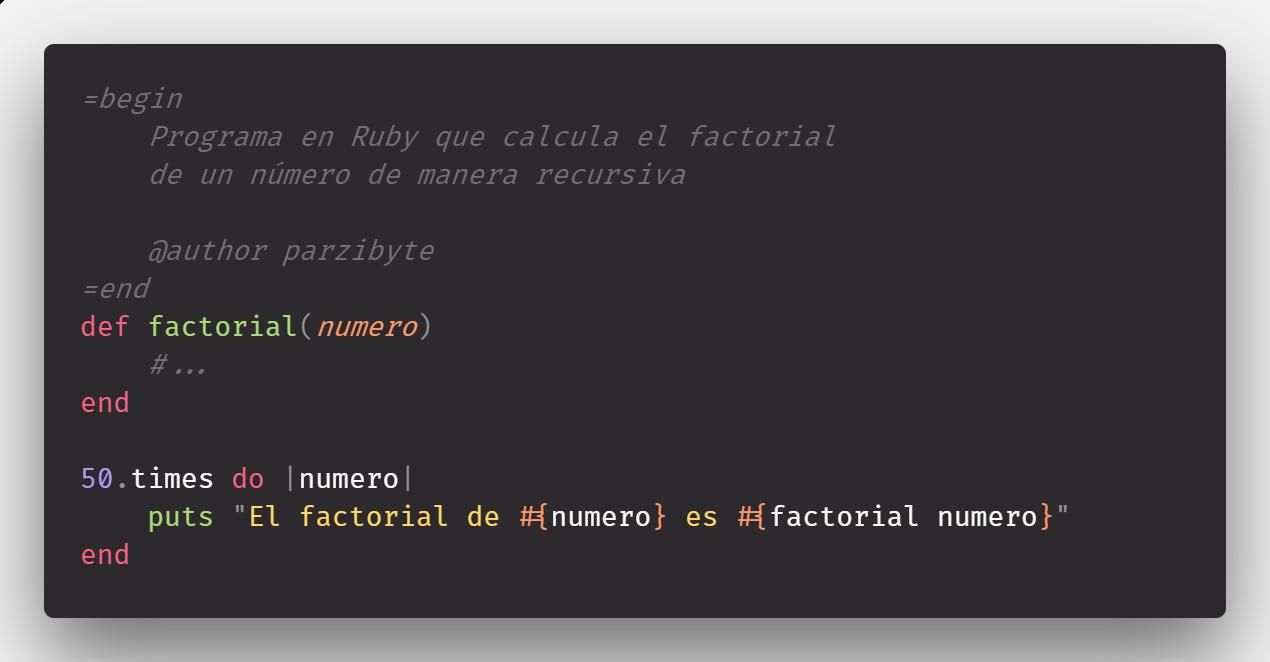 Factorial recursivo e iterativo en Ruby