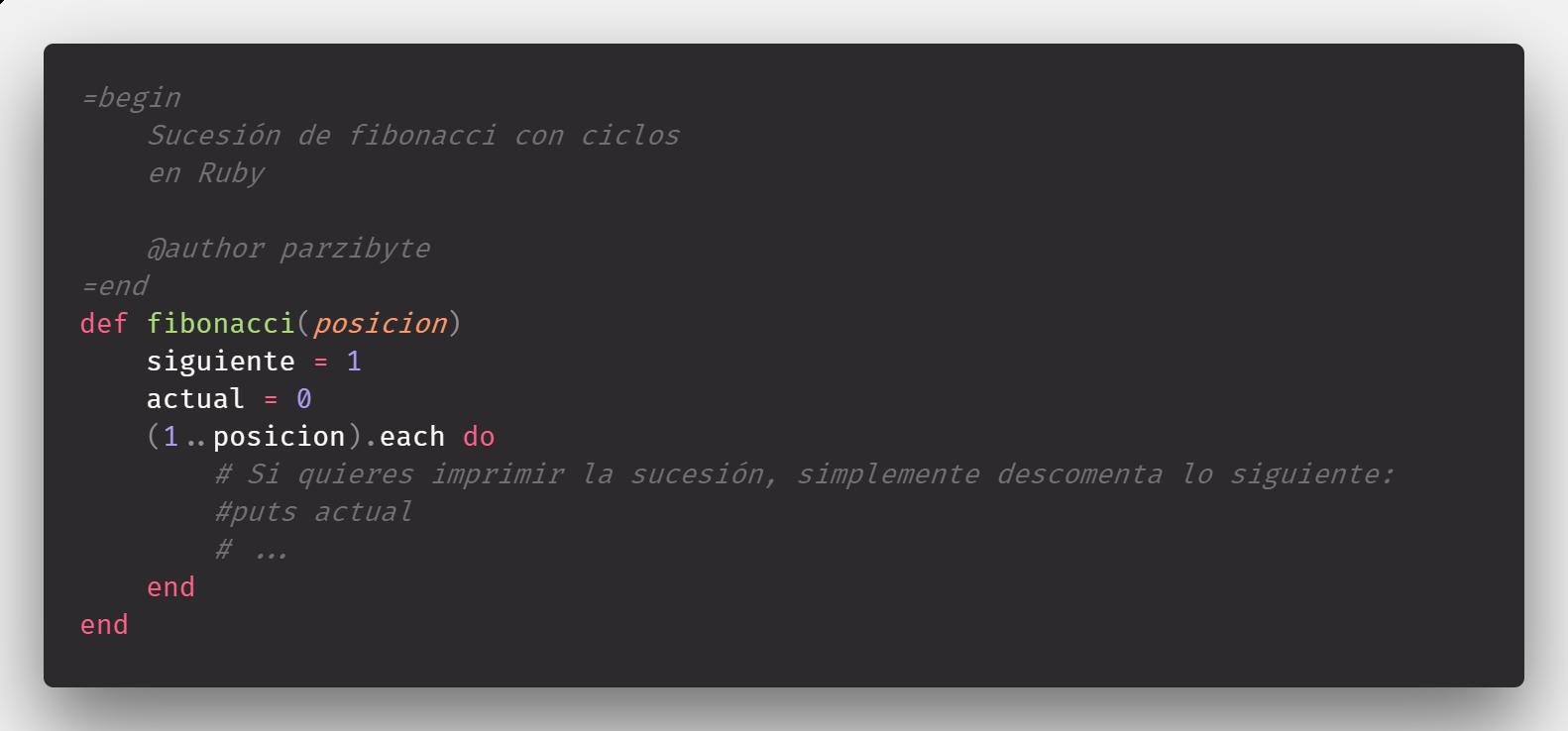 Fibonacci recursivo y con ciclos en Ruby