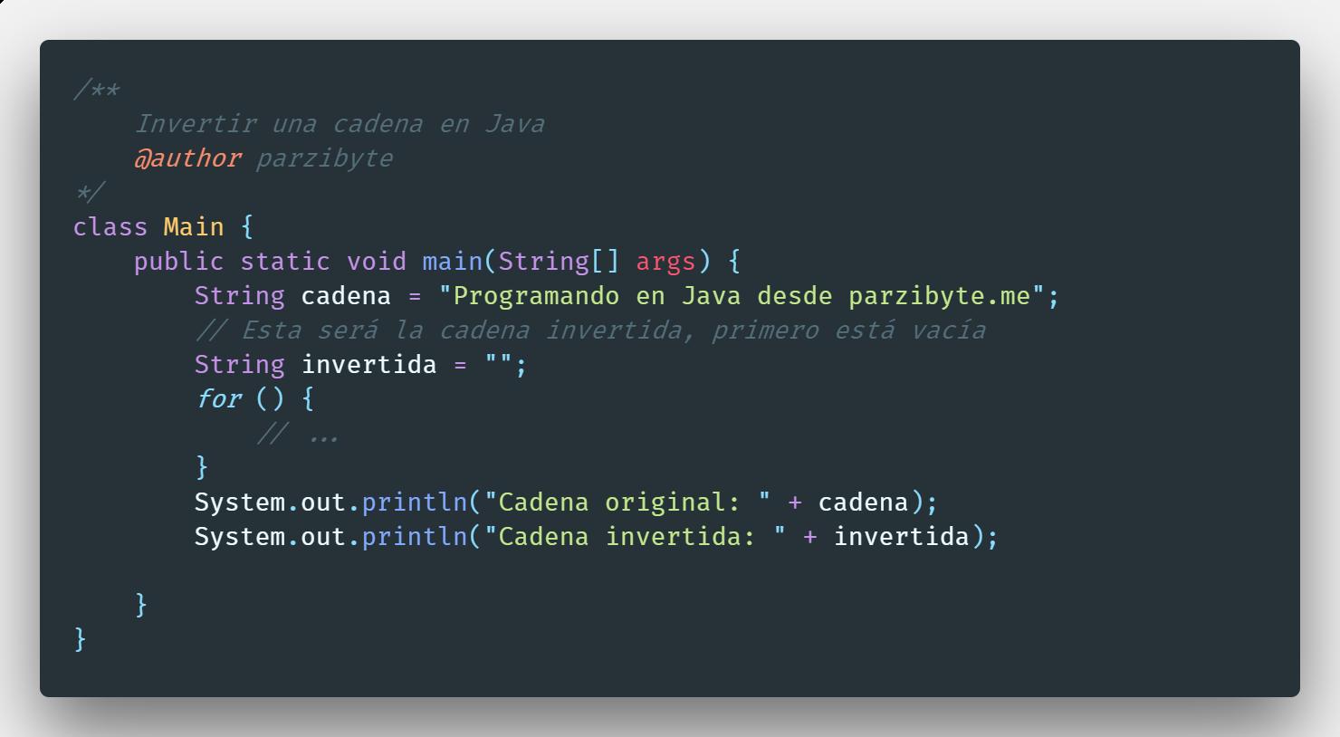 Invertir cadena en Java con ciclos y StringBuilder