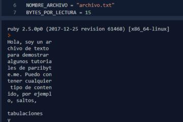 Leer archivos en Ruby. Leer determinados bytes a la vez o leer todo el contenido