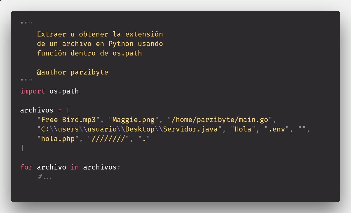 Obtener extensión de un archivo en Python 3