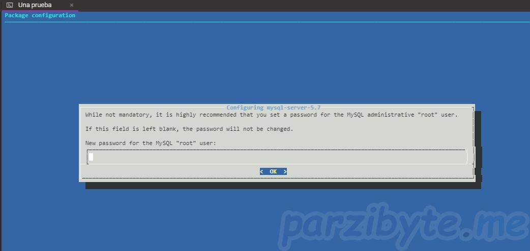 Paso 3 - Configurar contraseña de root