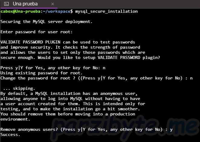 Paso 4 - Parte 1 de configuración con mysql_secure_installation