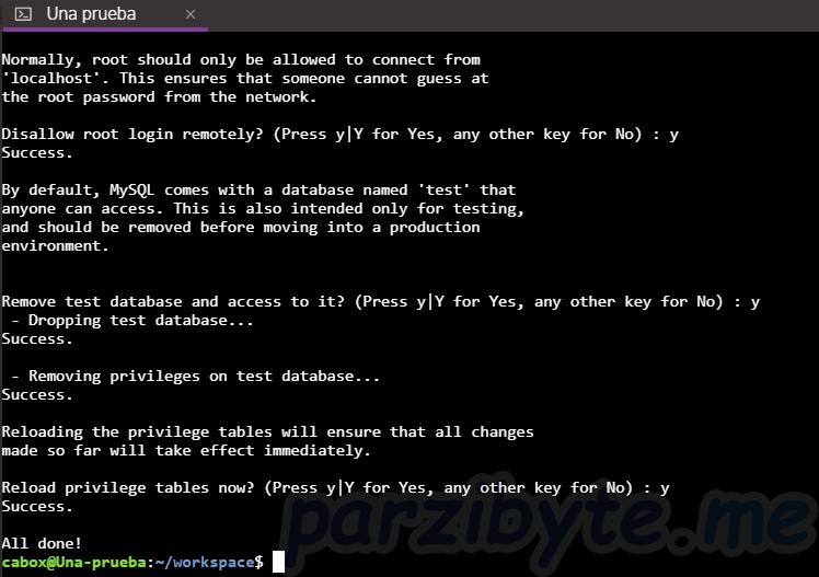 Paso 5 - Parte 2 de configuración con mysql_secure_installation