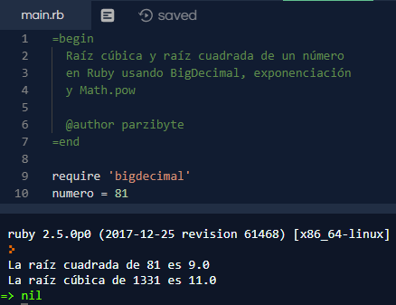 Raíz cuadrada y raíz cúbica en Ruby - Parzibyte\'s blog