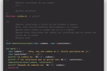 Remover caracteres de una cadena en C