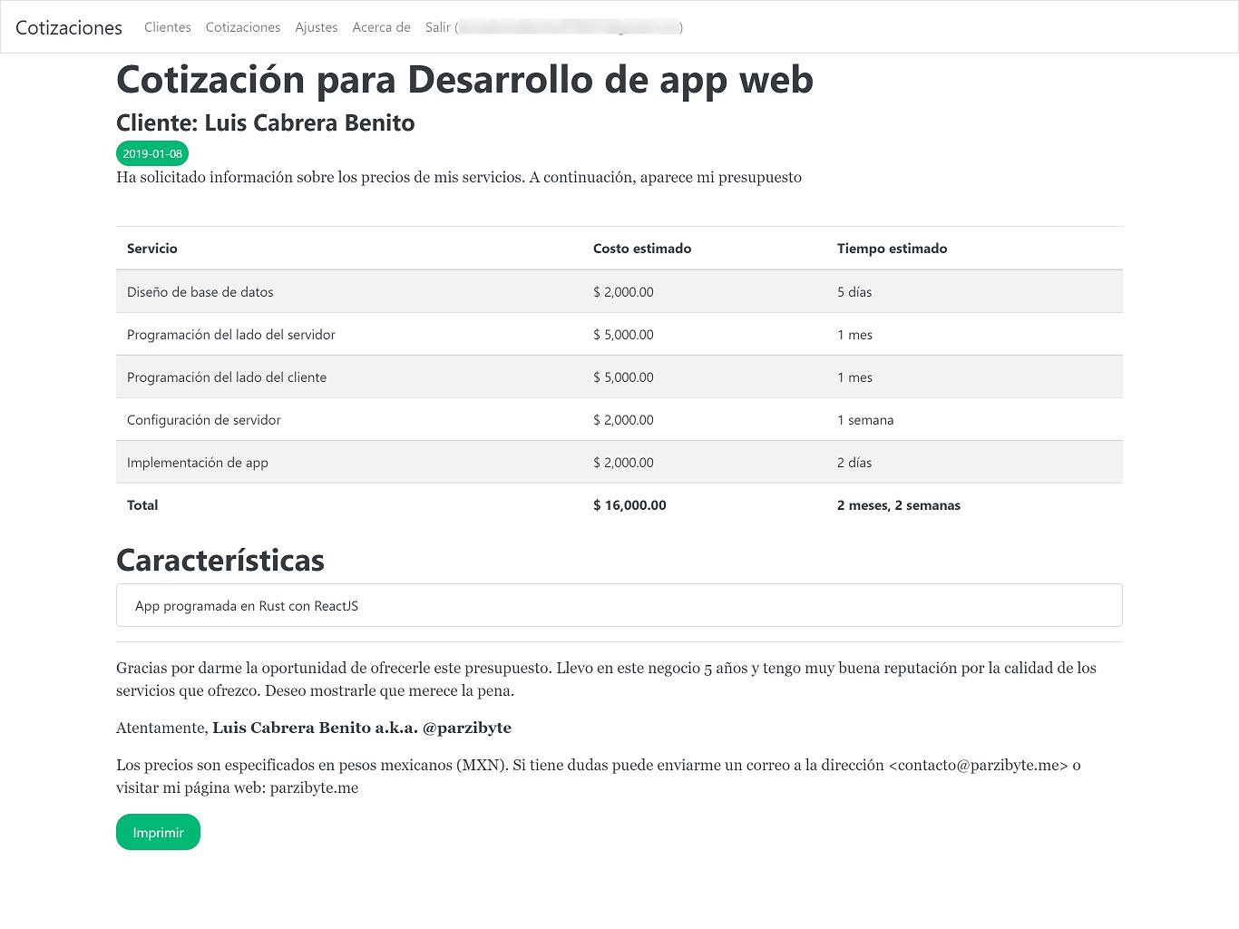 Sistema web para cotizaciones y presupuestos