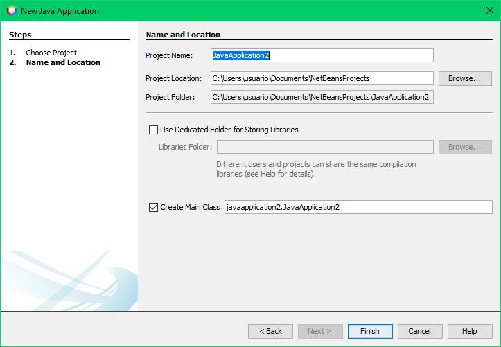 Ventana para crear nuevo proyecto de Java con NetBeans