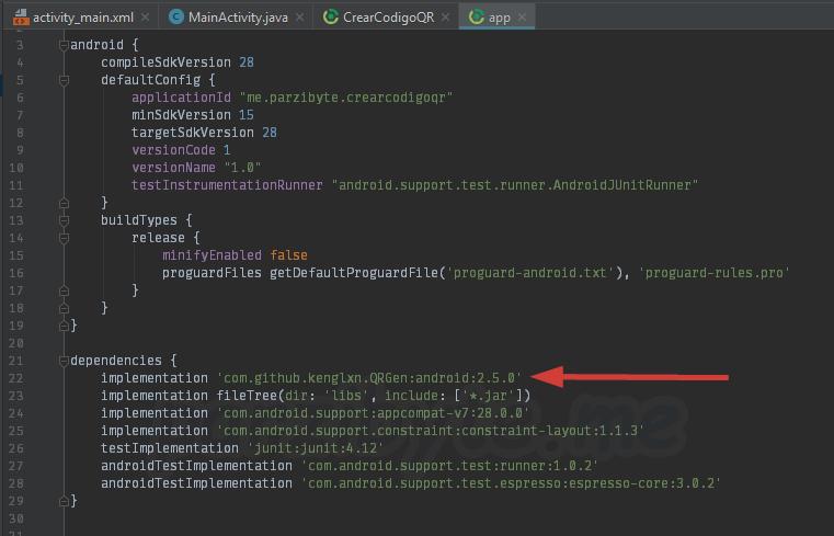 Agregar dependencia de QRGen en Android