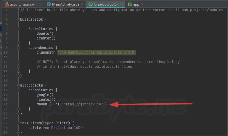 Agregar jitpack a Android Studio